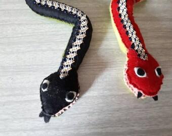 Vintage Handmade Felt Snakes