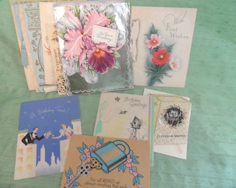 19 birthday cards from the 1940 s  / used lot of 1940 vintage greeting card birthday