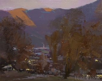 Dark Abstract Painting, Landscape Oil Painting, Mountains Wall Art Canvas, Evening Plein Air Painting, Modern Abstract Art