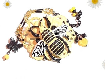 Bee bracelet, yellow and black bracelet, brass, bumble bee, Jewelry gift