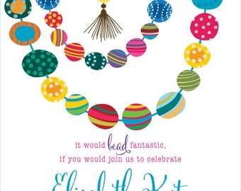 Fancy Fun Beads Birthday Party Invitation | Digital Download