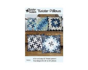 Pattern, Twister Pillows - 2 Sizes - 5 Designs~Pinwheel Twist Pattern