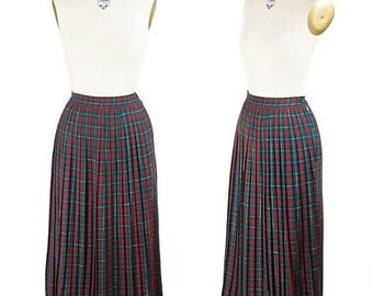ON SALE 1950s Skirt // Red Green Yellow Tartan Pleated Plaid Wool Skirt
