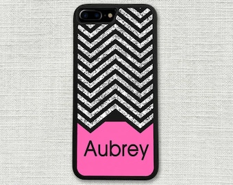 iPhone 7 Case, Chevron Glitter Pink Monogrammed iPhone 7 Plus Case Monogram 1202