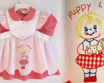 Vintage PINAFORE BABY DRESS Apron 'Puppy Love' Mayfair Red Gingham 18 Months