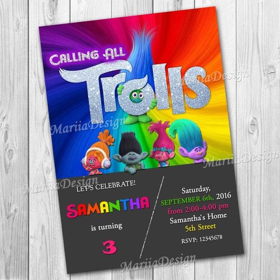 Trolls Einladung Trolls Geburtstags Party Party Druck