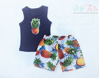 Boys Shorts and singlet set Pineapple Surf Beach Surfing