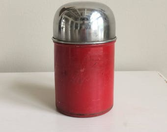 Vintage Red Tin, Vintage Round Tin, Storage Tin, Kitchen Office Storage Décor, Rustic Tin, Round Metal Tin, Small Tin Container