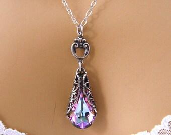 Purple Bridesmaids Necklace: Romantic Victorian Swarovski Crystal Purple Bridesmaid Jewelry Gift, Bridal Jewelry Wedding Jewelry, Prom