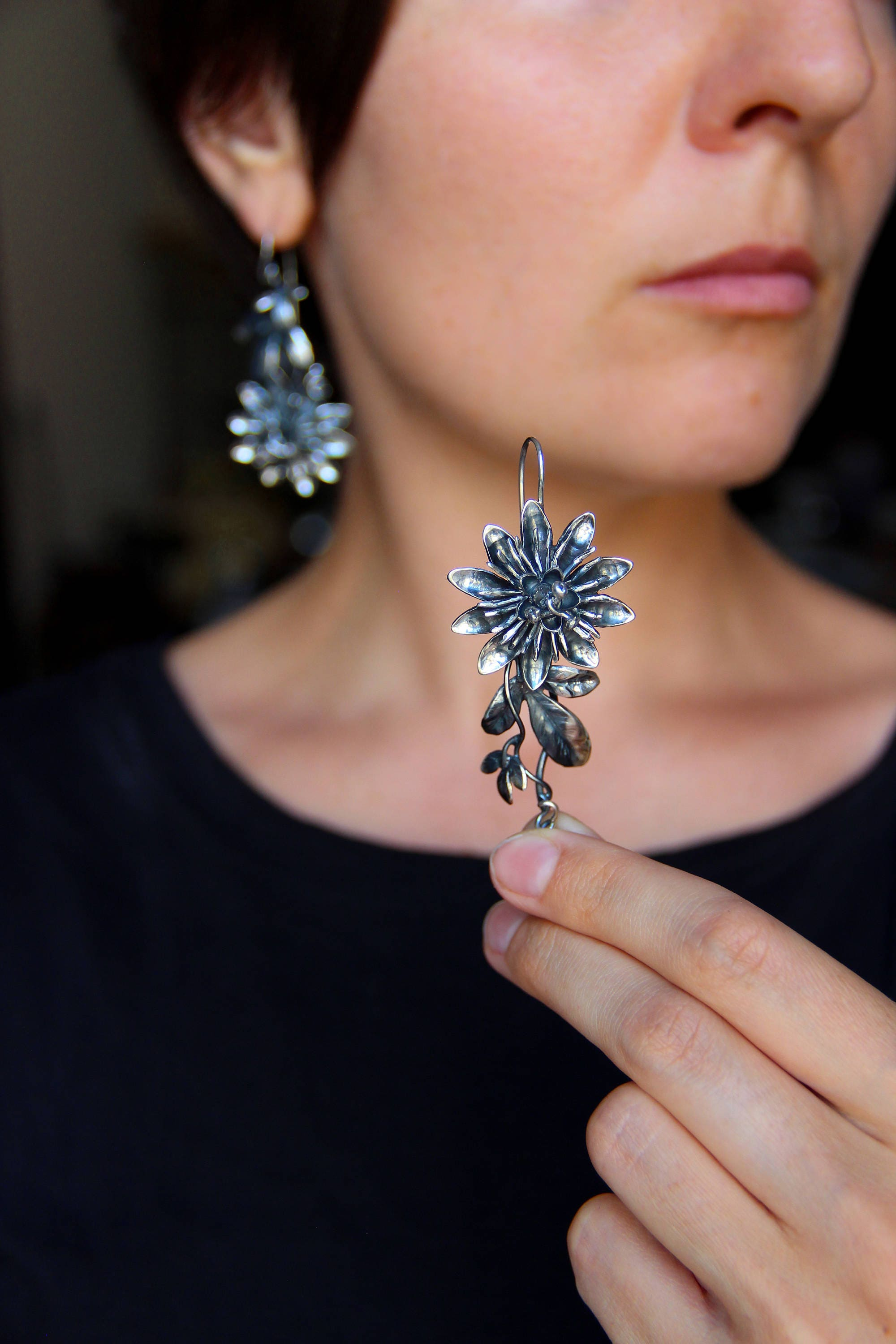 flower oxidized tropical tdcs earrings passiflora large il silver long leaves fullxfull listing floral jewelry sterling