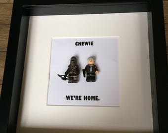 Unique Star Wars fan lego style mini figures gift frame Hans and Chewie with quote.