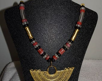 Gorgeous Pre-Columbian Reproduction Stone, Lampwork, Onyx? Gold Plate Heavy Necklace & Pierced Earrings Set~~Columbia
