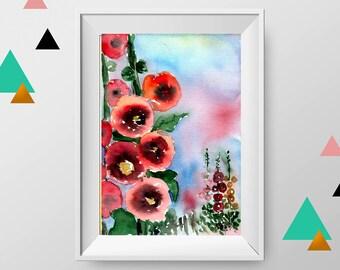 Hollyhock painting, Hollyhock original art, ORIGINAL flower art, flower watercolor, flower wall decor