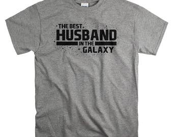 Fathers Day Gift for Husband - Cotton Anniversary Gifts for Him - Best Husband In The Galaxy T Shirt