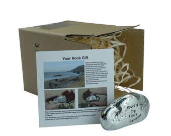 15th Anniversary You Are My Rock Gift Idea - Solid Metal Heavy Polished Rock Gift for 15 Year Anniversary