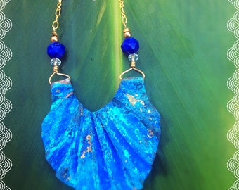 Hawaii Blue Shell Necklace in Copper with Lps Lazuli Faceted Beads 14k plated Chain