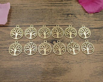 20 Round Tree Charms,KC Gold Color,Double sided-RS070