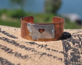 Hammered antique copper Montana cuff