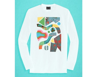Long Sleeved white T-shirt - Marbling Pattern