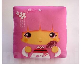 "Kawaii Girl, Girls Pillow, Geisha Pillow, Pink Pillow, Japanese Kokeshi Doll, Kawaii Print, Throw Pillow, Girls Room Decor, Dorm, 7 x 7"""