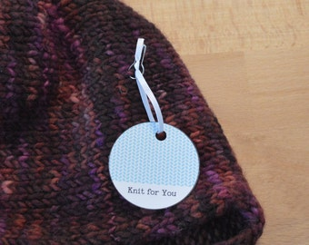 Cool Colors, Round Gift Tags for Hand Knits, Printable