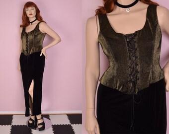 90s Black and Gold Metallic and Velvet Corset Dress/ XL/ 1990s