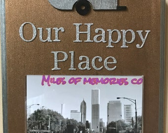 Our Happy Place Camping Photo Plaque