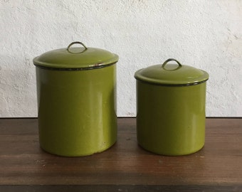 Set of 2 Vintage Green Enamel Storage Containers