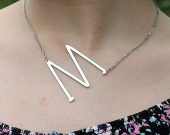Sale Large Initial Necklace, Silver Sideways Intial Necklace,Silver Initial Necklace ,Custom Silver Letter Necklace,Alphabet Necklace