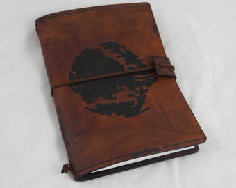 Deathstar leather, re-usable travel notebook A6