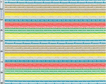 Dayglo/Gold Pointelle Novelty Stripe Knit, Fabric By The Yard