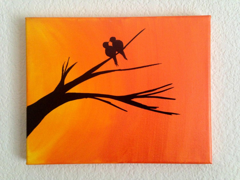 Love Bird Quotes Original Sunset Painting Christmas Sale Love Birds Silhouette