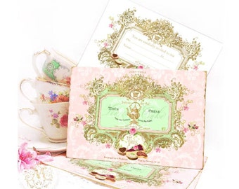 Party invitations, tea party, high tea invitation, French, vintage cake cards, birthday invitation, a set of 4