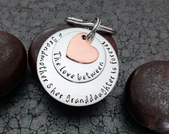 Mother's Day Gift for Grandma Grandma Keychain The Love Between A Grandmother And Her Granddaughter Is Forever Woman's Keychain