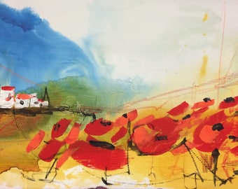 Painting, canvas, landscape poppies, red, father's day gift