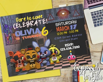 Five Nights at Freddy's Invitation, FNAF Invitation, Five Nights at Freddys Birthday, Five Nights at Freddys Invitation