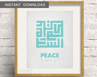 Instant Download! Salam Peace be upon you, Kufi Islamic Art. Scandinavian Rustic Design. Digital Download DIY