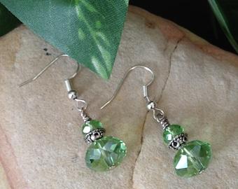 Crystal Earrings, Green Crystal Earrings, Green Dangle Earrings