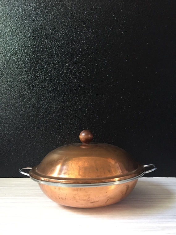 vintage large copper cooking pot with handles / boiling pot / french