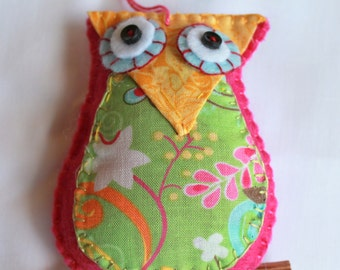 Plush Felt Owl Perched on a branch Hanging Felt Ornament