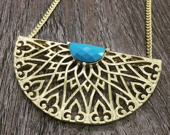 Turquoise Long Necklace. Long Necklace Boho. Gift for her. Long Statement Necklace. Anniversary gift, Half Moon Gold necklace. Gift for mom