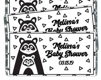 Mama Raccoon and Baby Raccoon Baby Shower Candy Wrappers, fit over 1.55 oz chocolate bars - black and white