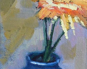 "Small Floral Painting, 4x8"" Original Oil Painting, No Frame Required"