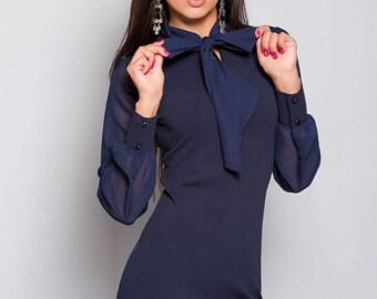 Dark Blue Dress Formal dress Jersey Dress with Bow Casual Dress Chiffon Top Wedding dress Party Dress Occasion dress
