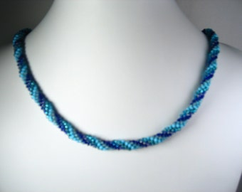 """Hand Crocheted Beautiful Blues Glass Seed Bead Necklace 24"""""""