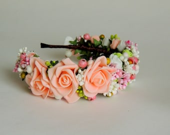 Wreath Hair/Headband -   Peach dream