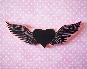 Hand carved stamp of a winged heart - flying heart - valentine DIY - love stamp