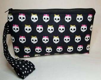 Skulls with bows wristlet, cosmetic bag, make up clutch, 8x5, handle, zipper, inside pocket skulls fabric