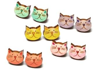 Painted Cat Studs · Cat Head Earrings · Wood Cat Earrings · Painted Cat Earrings · Cat Stud Earrings