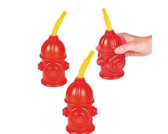 Fire Hydrant Cups - Firetruck Birthday Party Cups, Fireman Party Supplies, Firefighter Party, Fire Truck Party Reusable Party Favor Cups